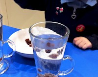 Sultanas being dropped into a tall glass of clear fizzy liquid